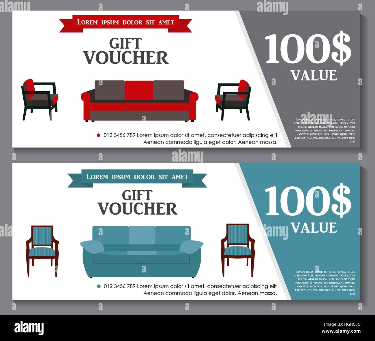 Attractive Gift Voucher Template With Variation Of Furniture For Apartments