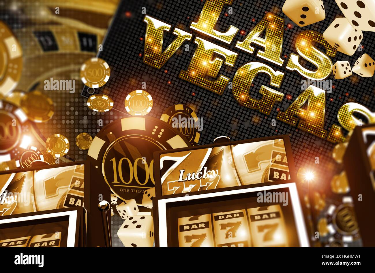 Golden Vegas Casino Concept. Casino Games 3D Rendered Illustration ...