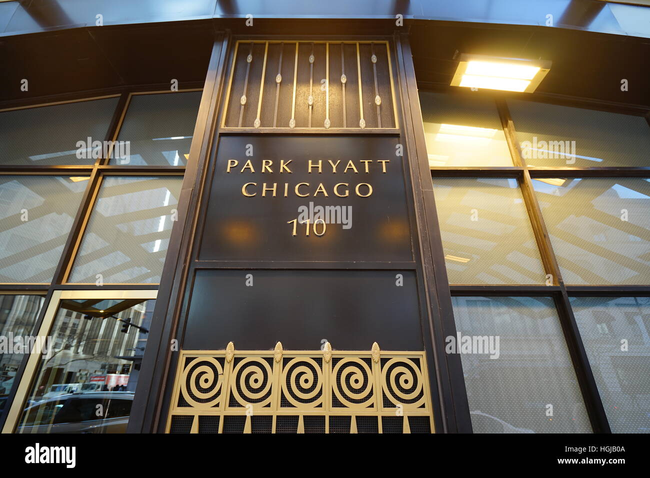 Stock photo the flagship park hyatt chicago luxury hotel located across from the water tower on michigan avenue
