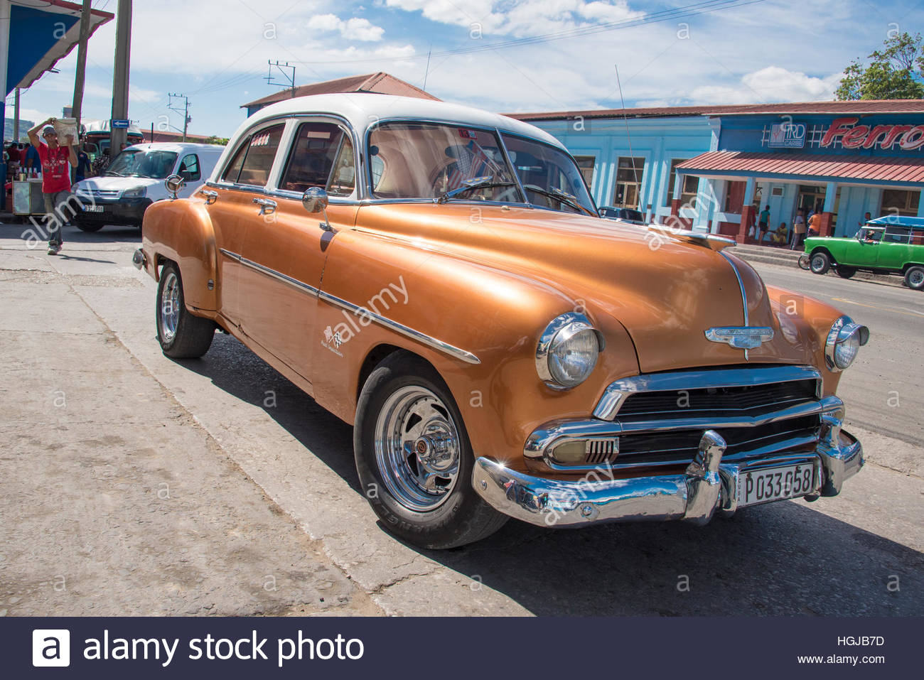 Cuban Classic Cars Orange Chevrolet Or Wide Angle View