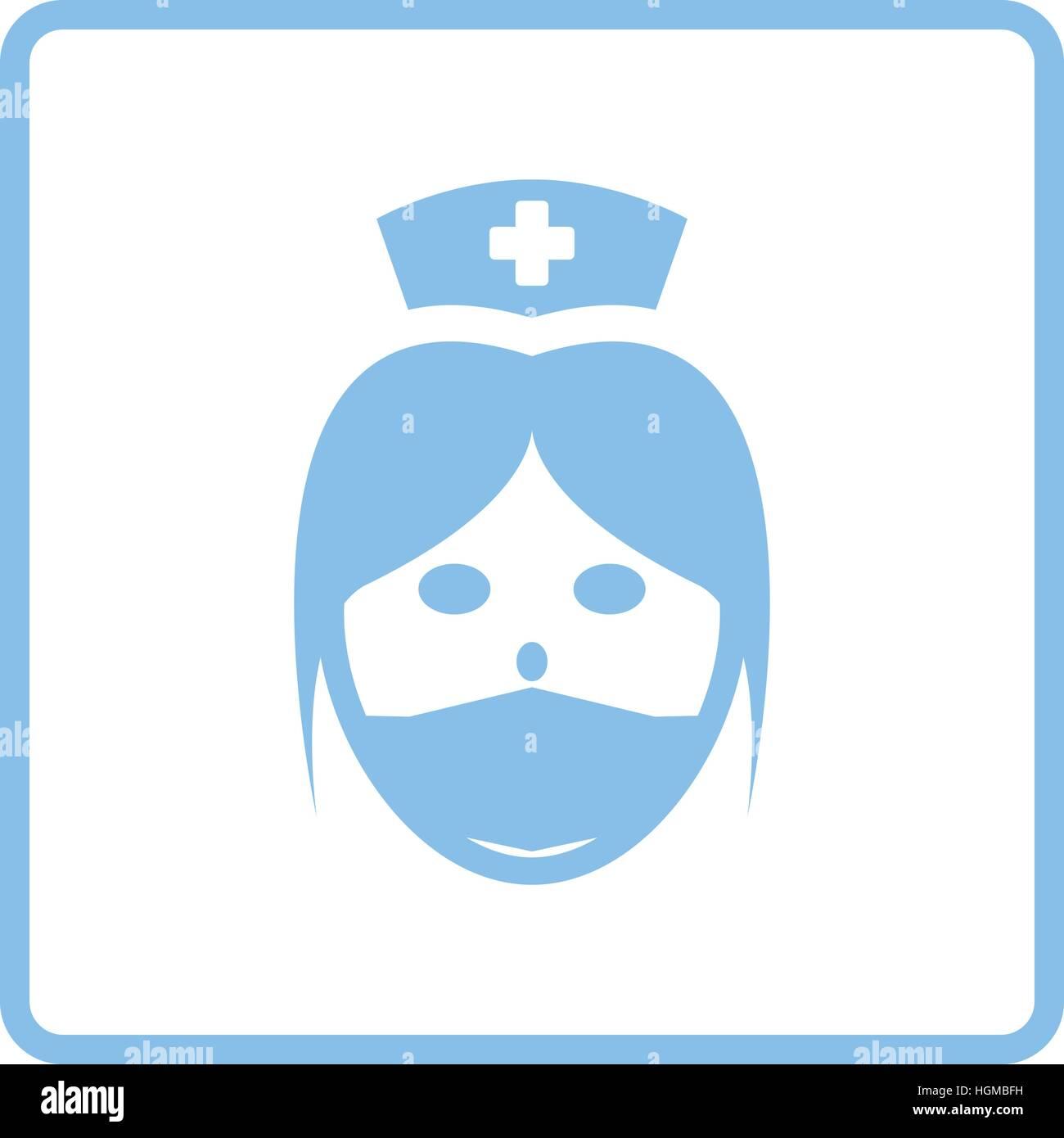 nurse head icon blue frame design vector illustration stock
