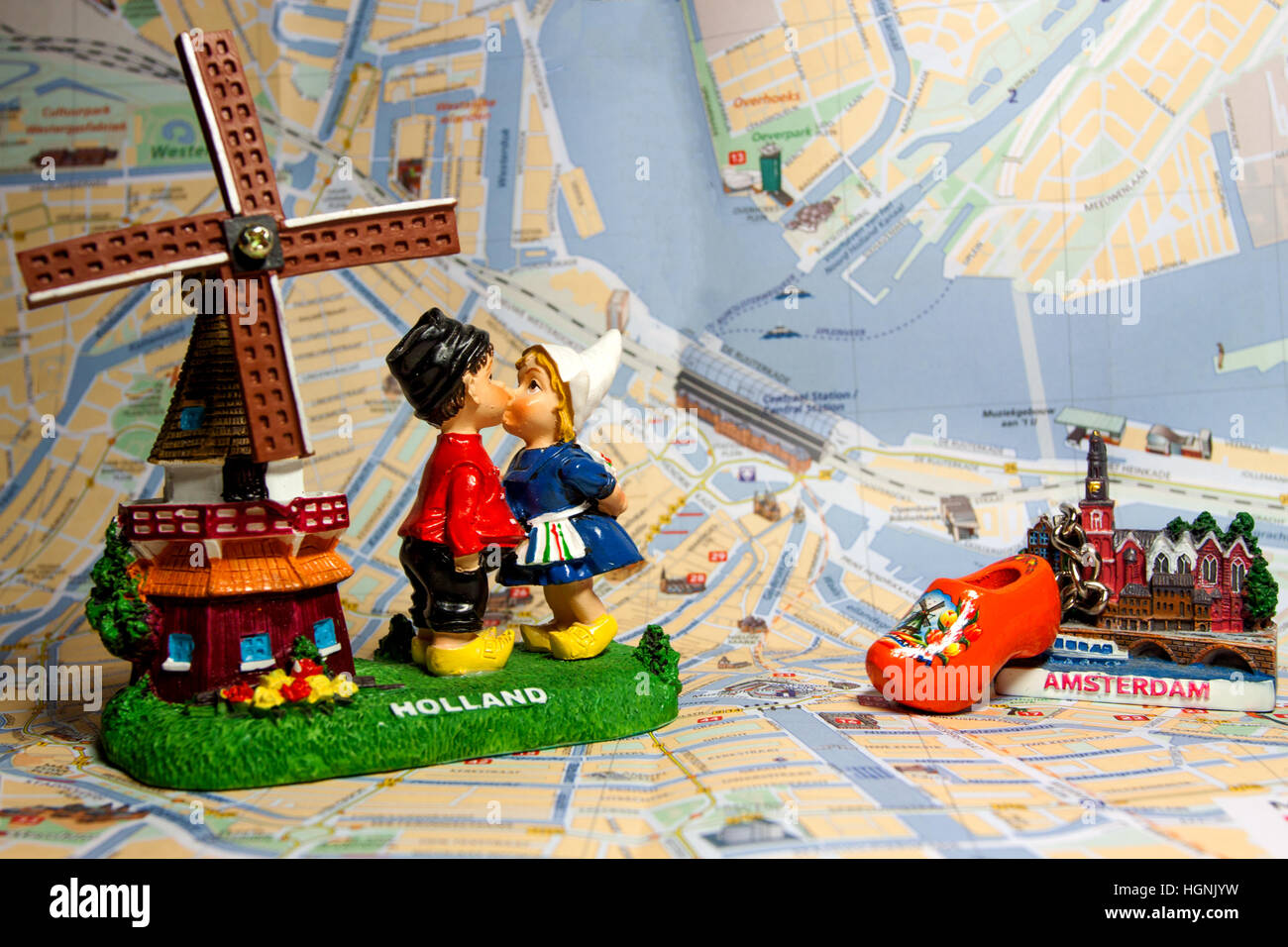 holland souvenir with amsterdam maps in background dutch windmill