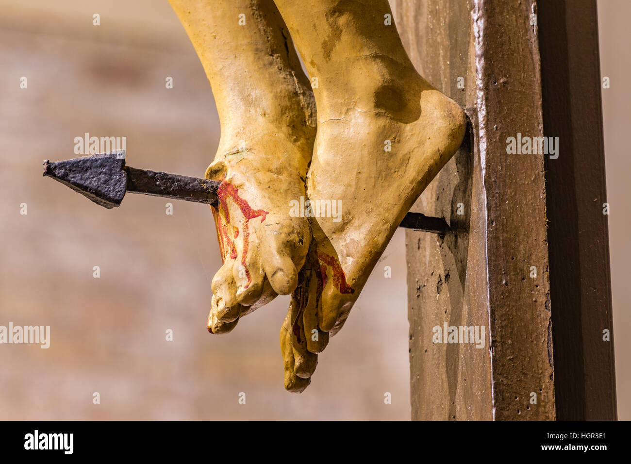 nailed feet of jesus christ on the cross stock photo royalty free