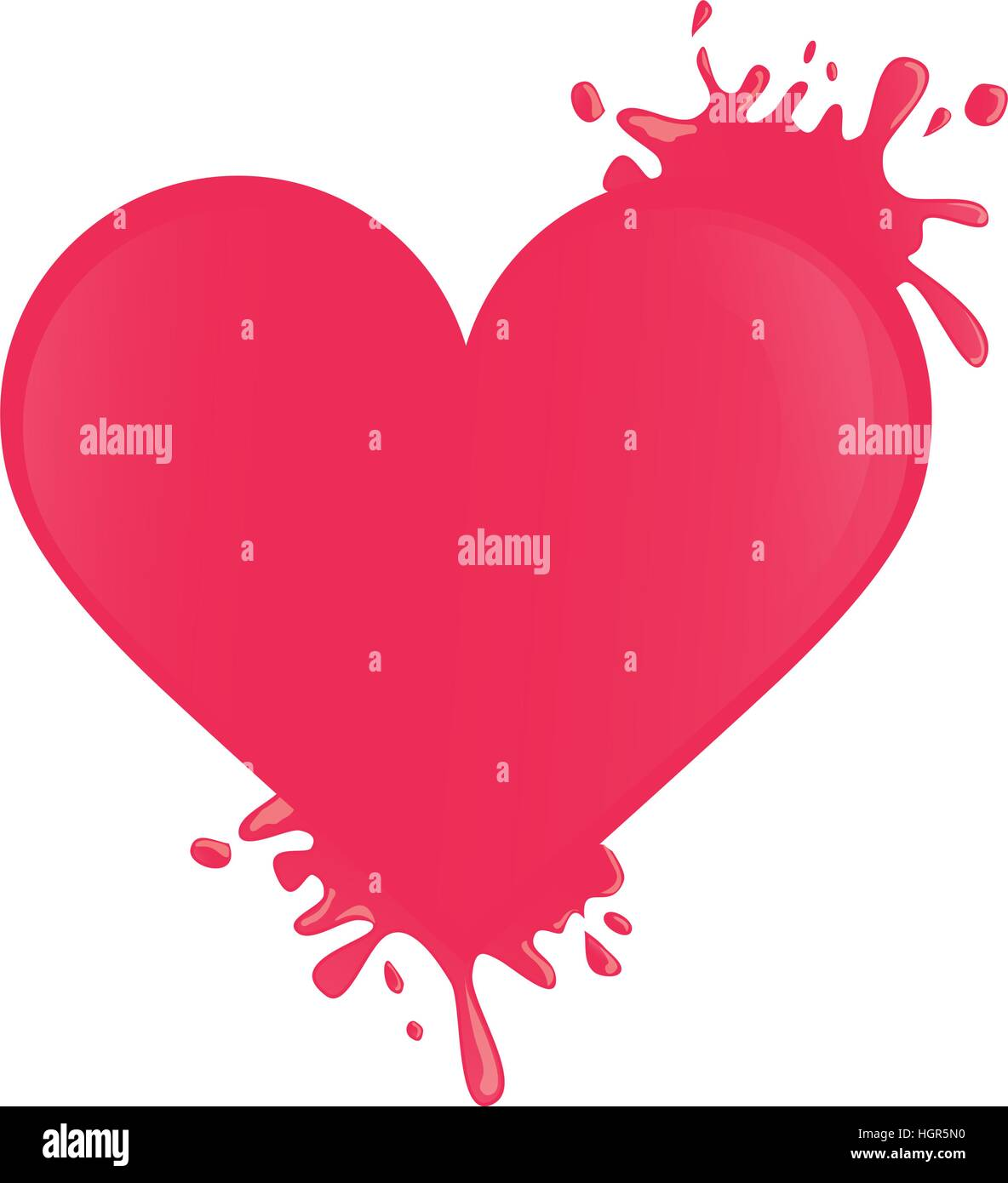 Bright Pink Paint Hot Pink Paint Splatter Heart Cartoon Icon Image Vector