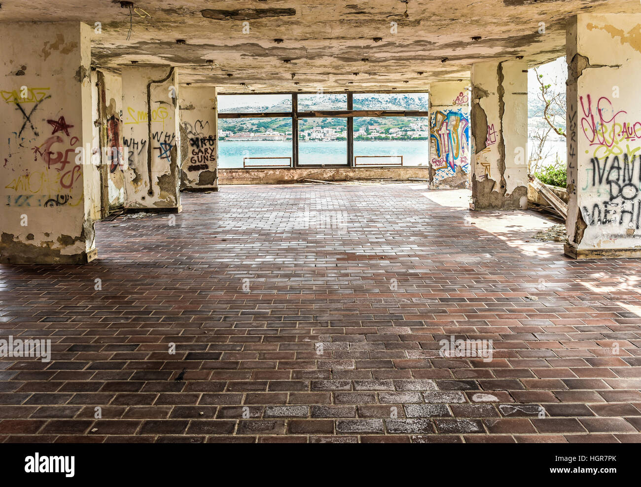 Graffiti wall tiles - Ruins Of Abandoned Hotel Building With Old Floor Tiles Graffiti And Ruined Ceiling And Walls