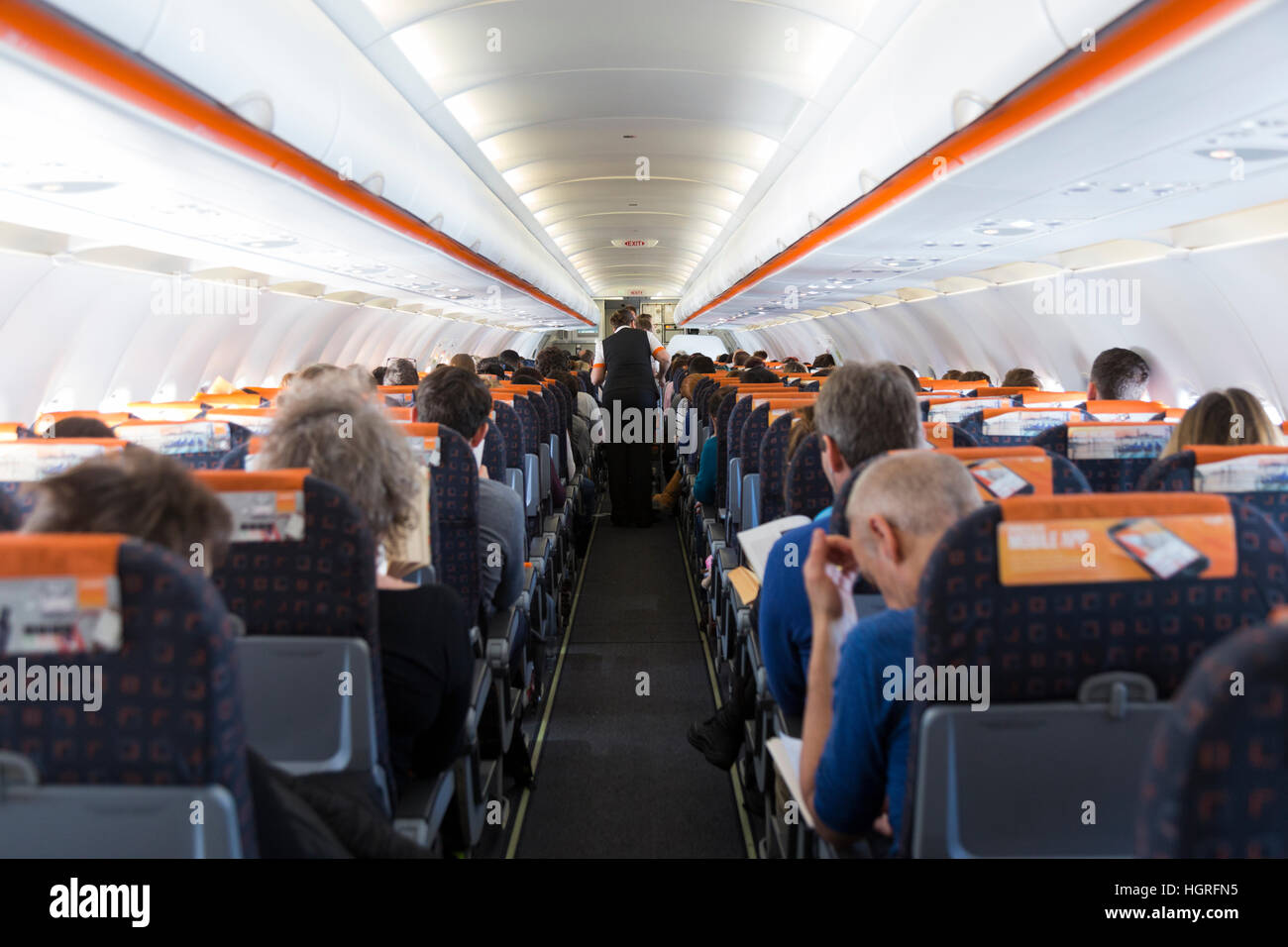 The Cabin Aisle On An Easyjey Airbus A320 Passenger Plane