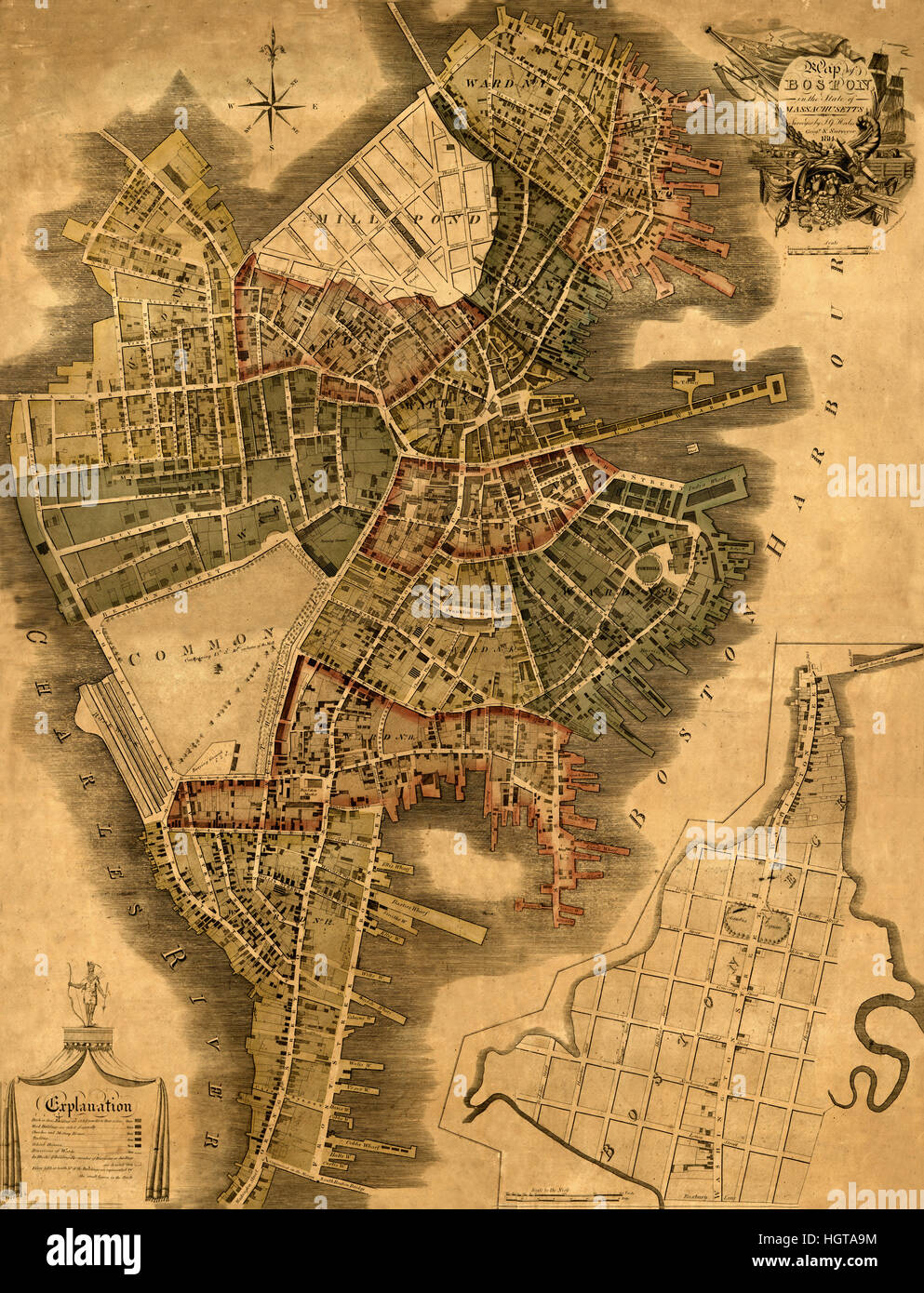 Old Map Of Boston Stock Photos  Old Map Of Boston Stock Images - Map of boston vicinity