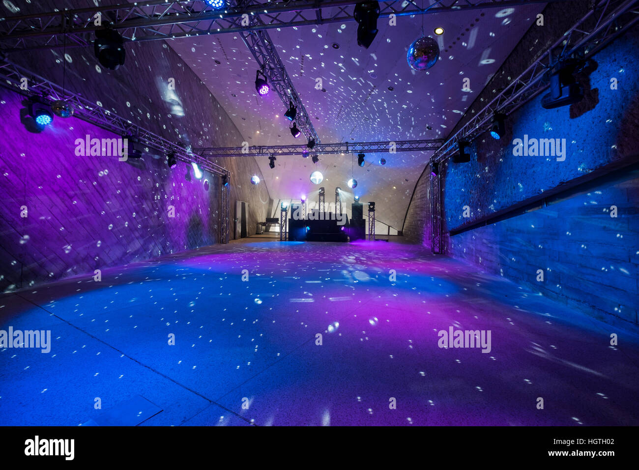 floor led lighting. empty disco dance floor with led lighting and mirror balls c