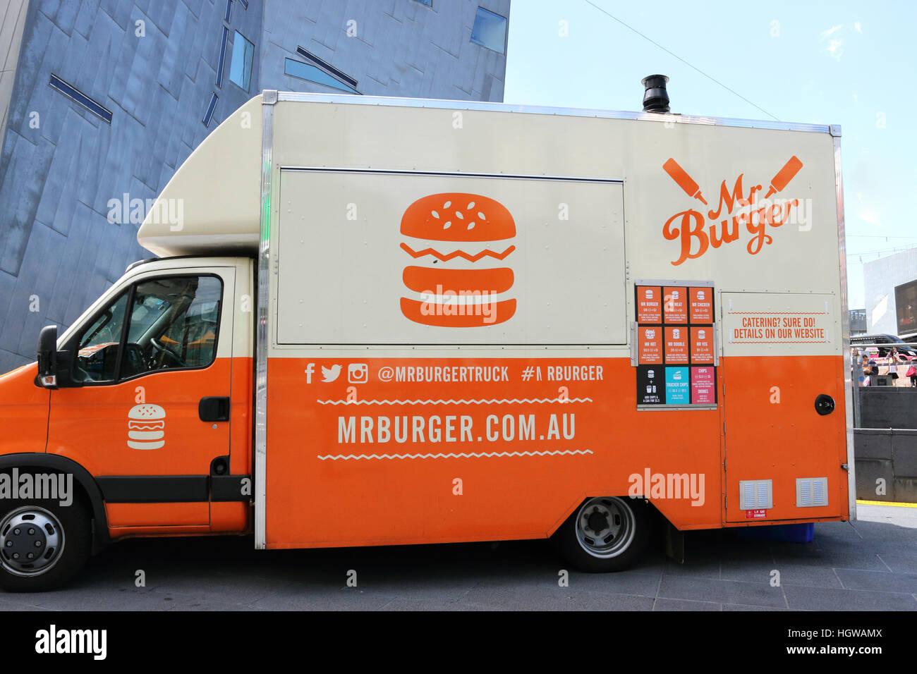 Mr Burger Food Truck In Front Of Federation Square Melbourne CBD Victoria Australia