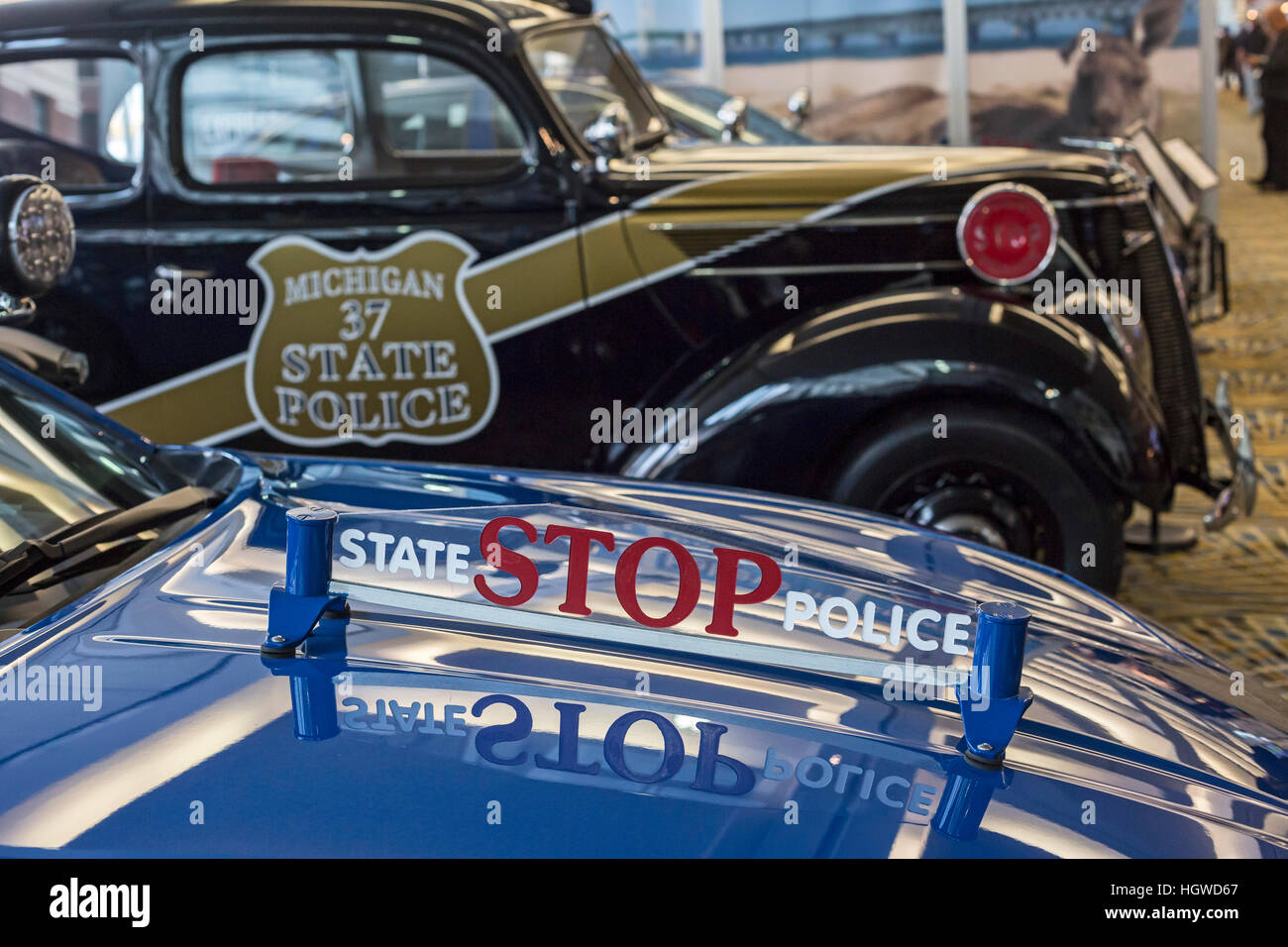 Detroit, Michigan - Michigan State Police cars on display at the ...