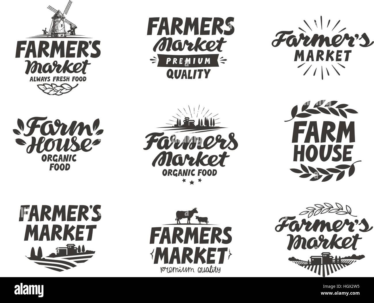 farmers market vector logo farm farming icons set stock
