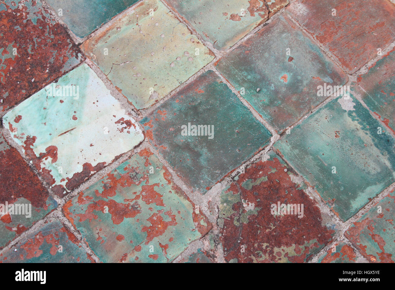 Antique ceramic tile church floor with turquoise green colored antique ceramic tile church floor with turquoise green colored tile dailygadgetfo Choice Image