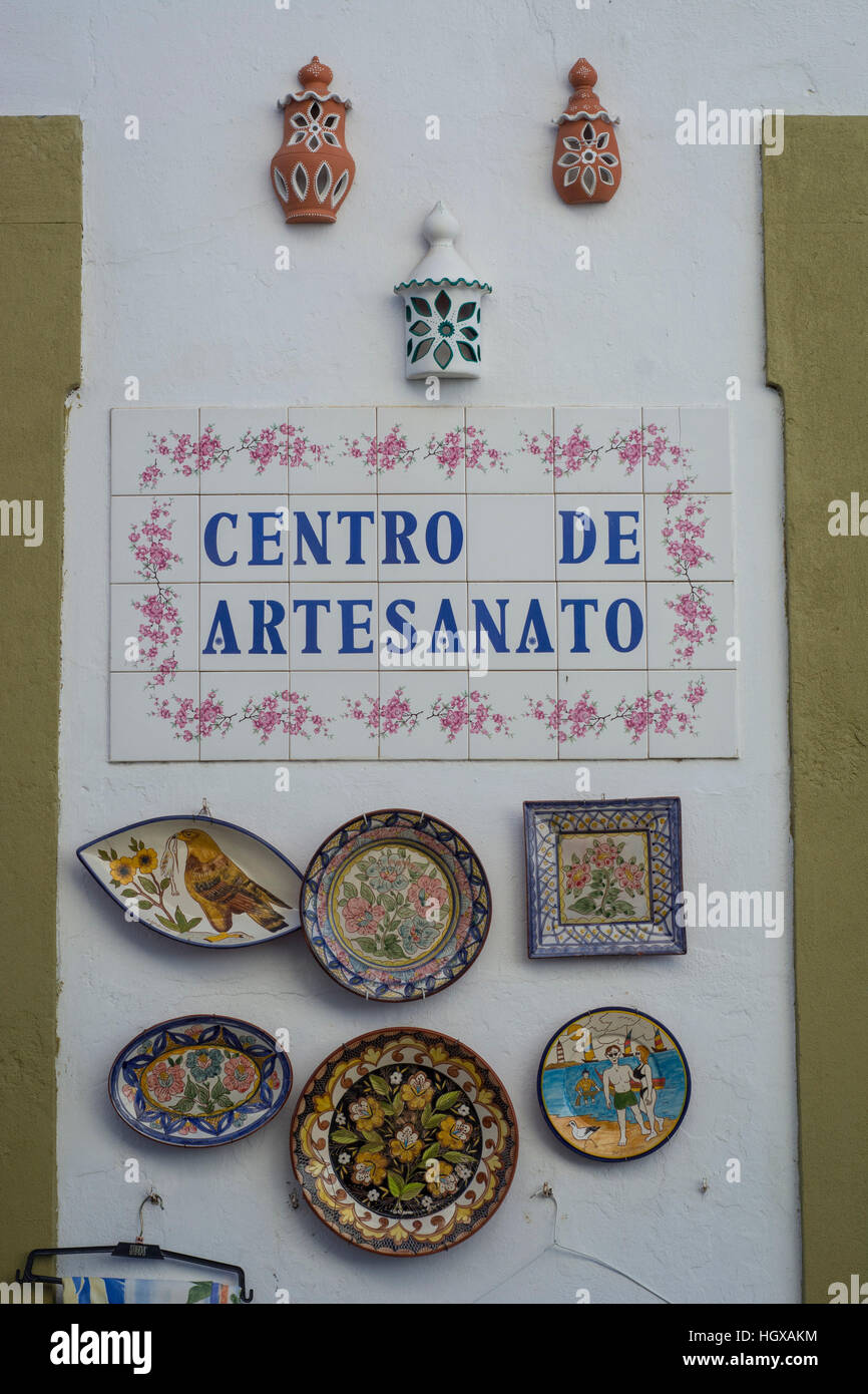 Souvenir shop with local ceramic tiles called Azulejo, Loule Stock ...