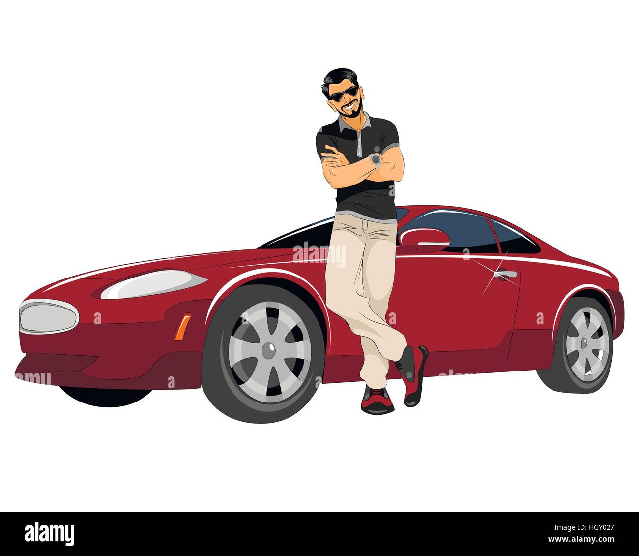 Auto Good Image: Vector Illustration Of A Young Man With Good Car Stock
