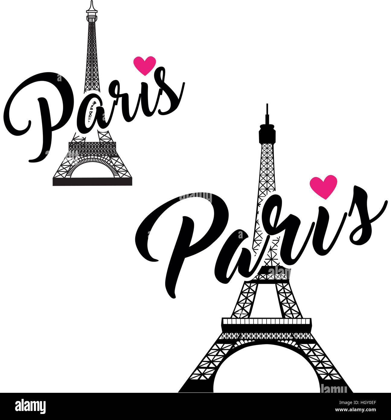 Vector eiffel tower set simple graphic design for paris for Design paris