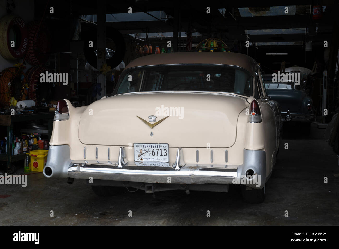 Classic American car (Cadillac) in parking garage, Memphis Stock ...