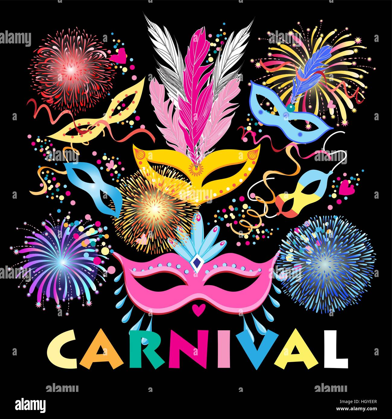 Bright Colorful A Carnival Background With Mask Stock