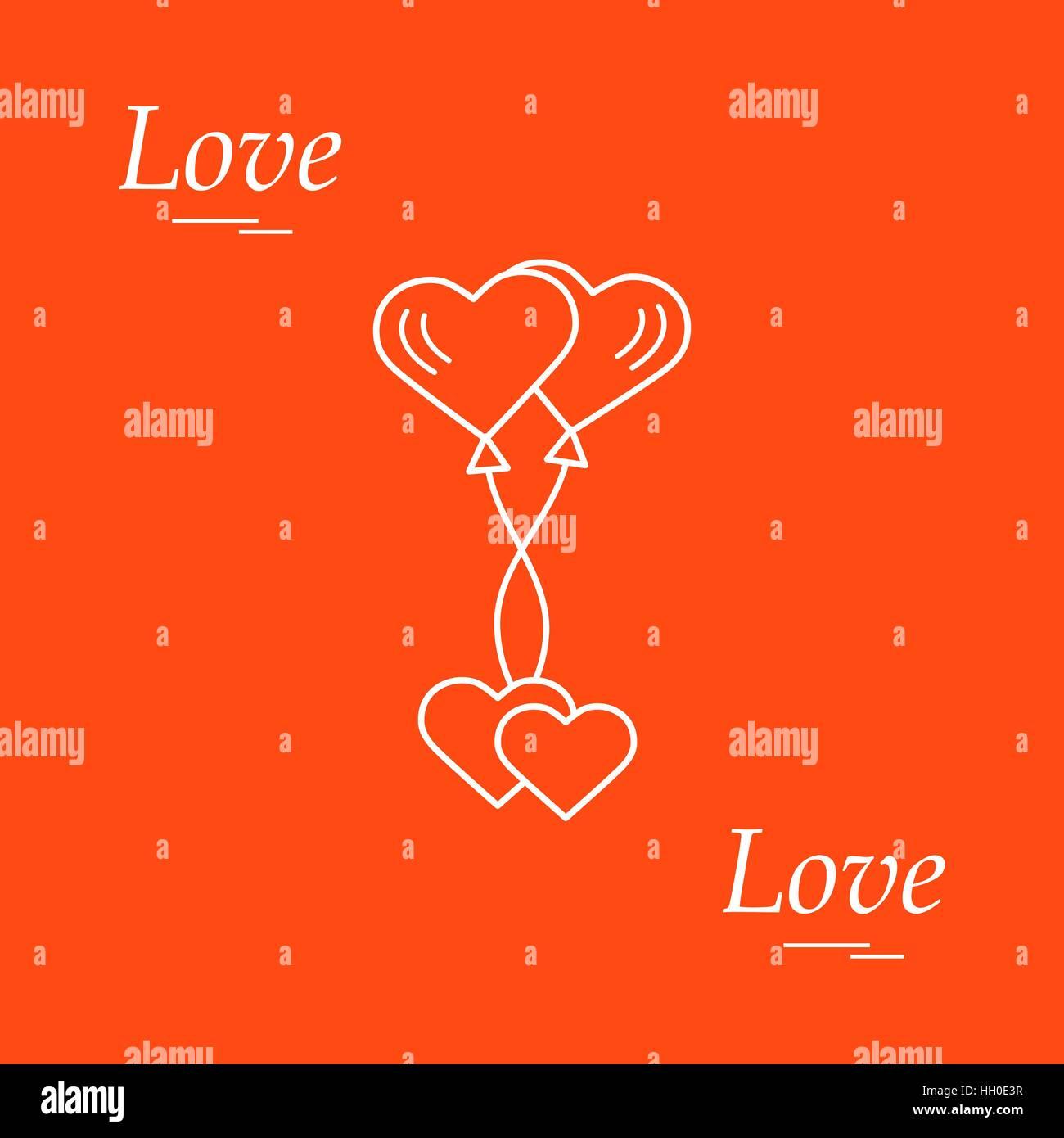 Cute vector illustration of love symbols heart air balloons icon cute vector illustration of love symbols heart air balloons icon and two hearts romantic buycottarizona Gallery