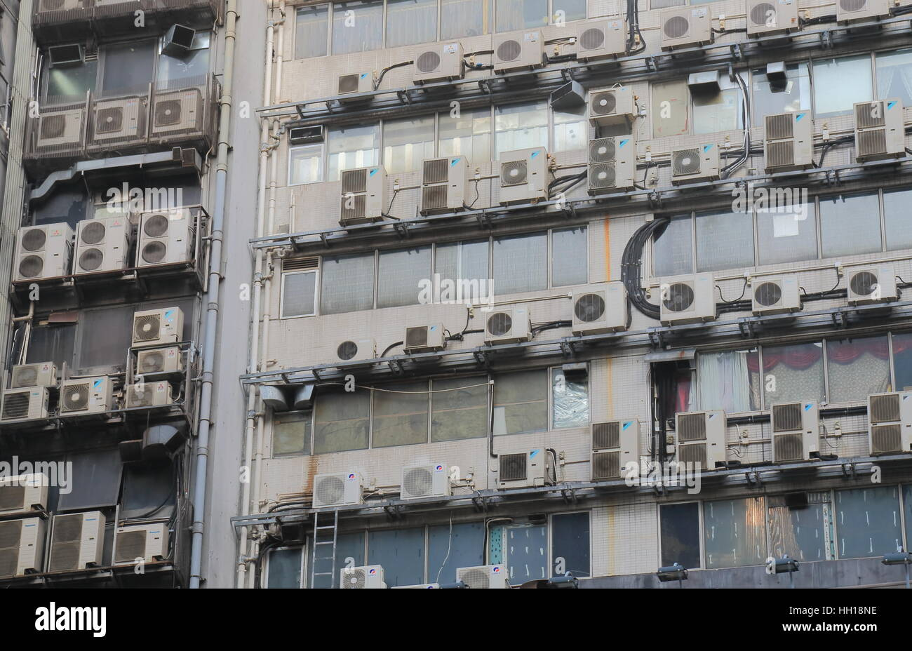 Air conditioning unit at a residential apartment building in Hong ...