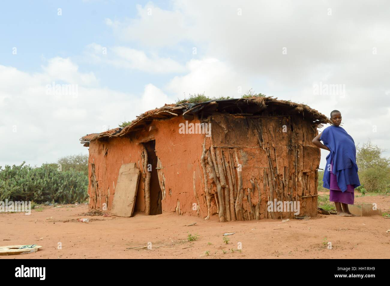 Stock photo traditional house of masai in earth and wood in a village of kenya