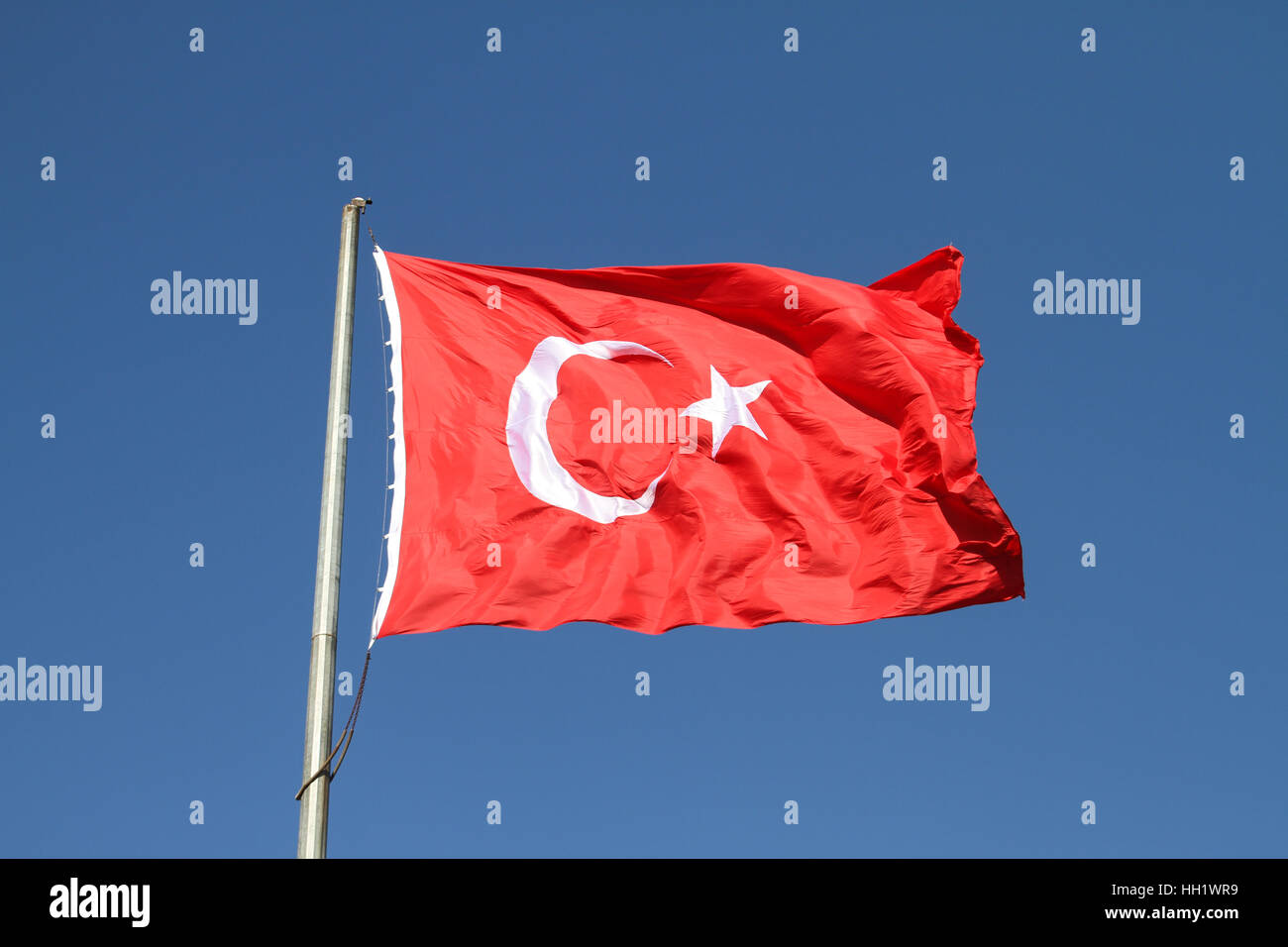 Red and White Turkish Flag with Moon and Star Stock Photo ...