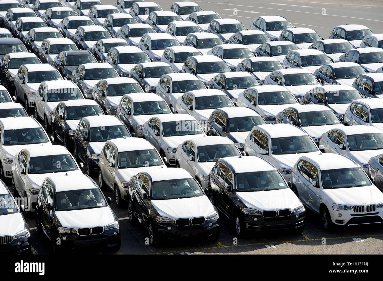 Bremerhaven, Germany. 02nd Oct, 2015. New BMW Cars Waiting To Be Shipped At  The Car Shipping Terminal Of Bremerhaven, Germany, 02 October 2015.