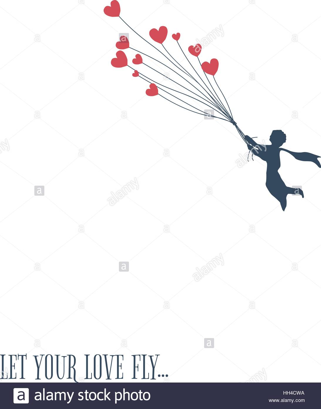 Love concept for valentines day little boy flying with heart