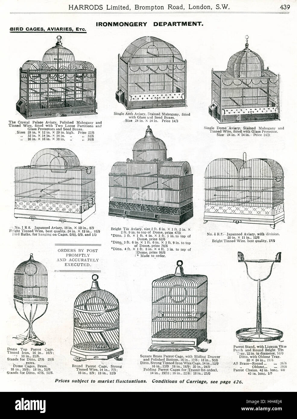 Trade catalogue for Harrord's department store, showing a variety of  decorative larger bird cages