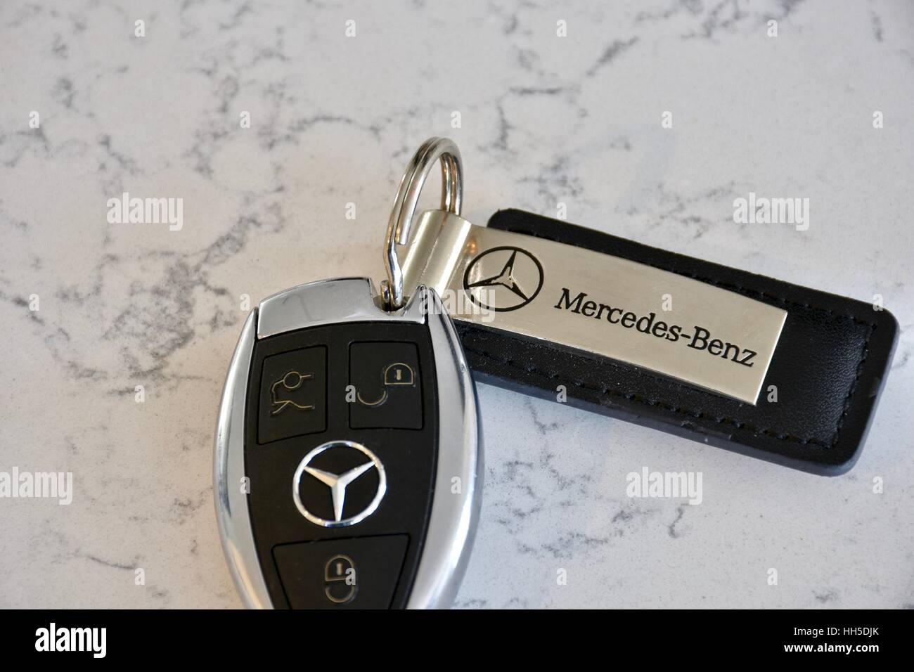 Mercedes benz key fob on a white marble surface stock for Mercedes benz key fob