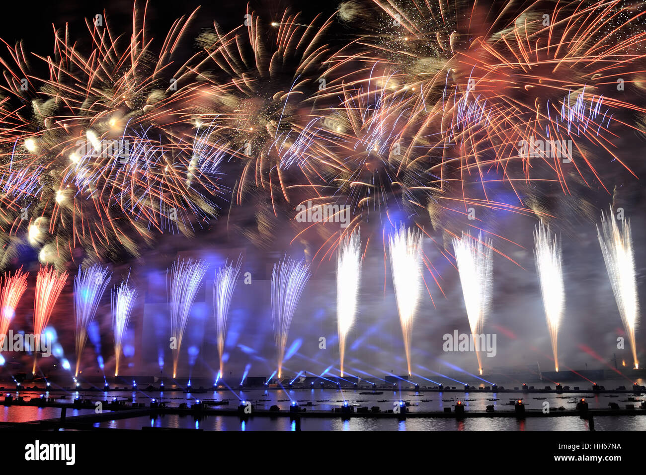 we rise the banner of russia stunning fireworks in the colors of