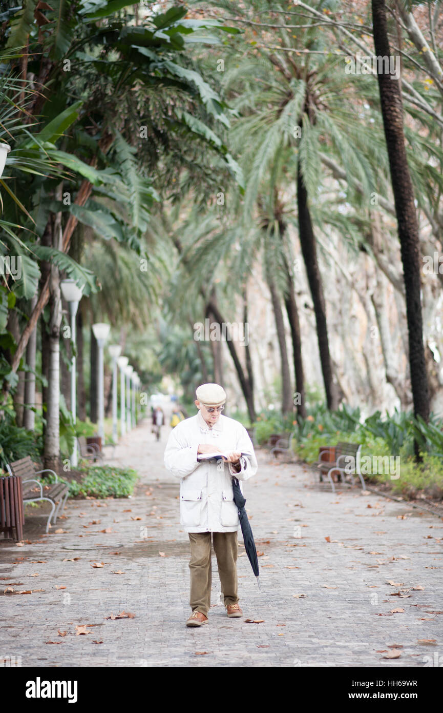 december 18 2016 older man walking and reading in lush green tropical gardens in malaga andalusia spain - Tropical Garden 2016