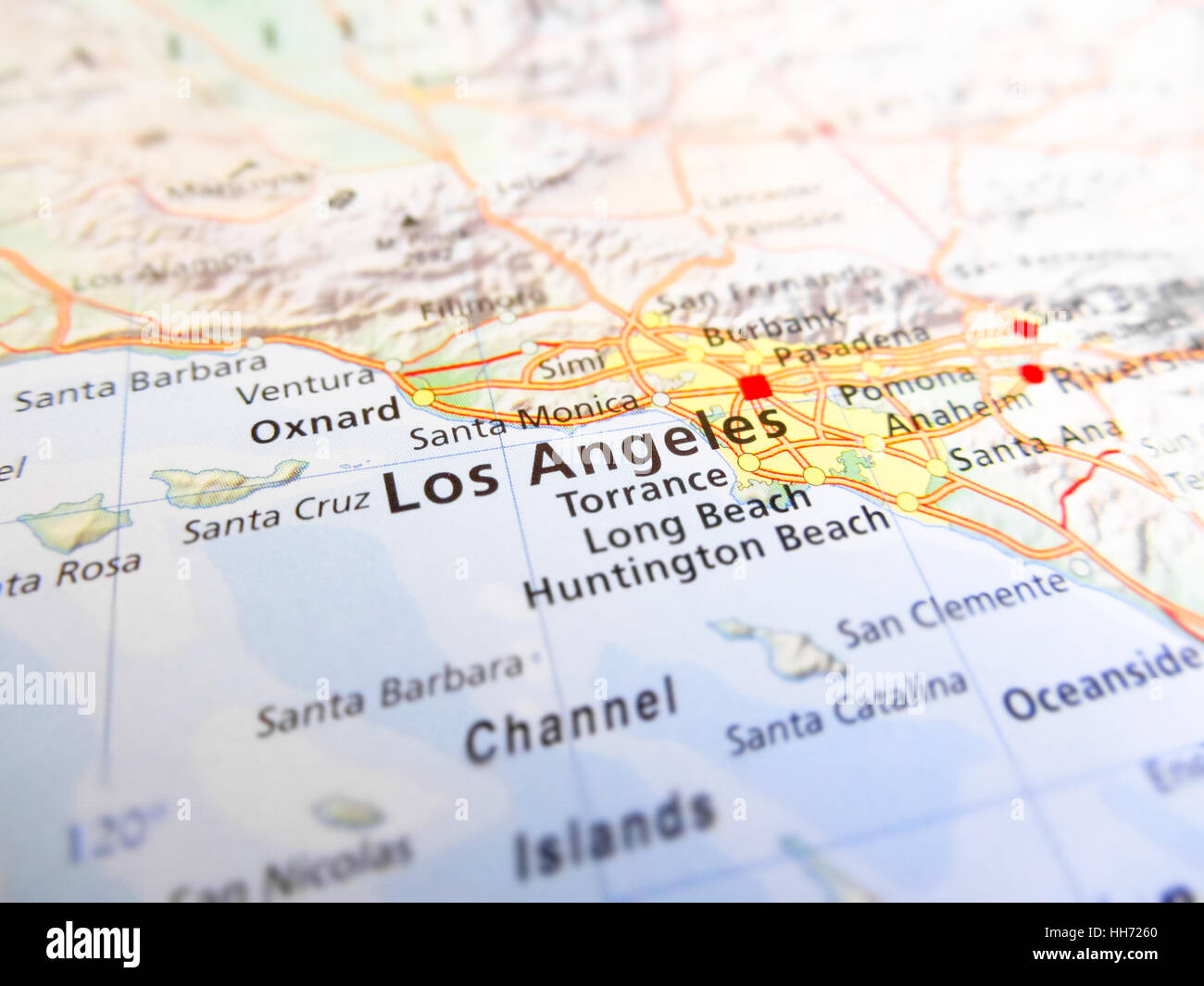 Los Angeles City Over A Road Map USA Stock Photo Royalty Free - Road map usa