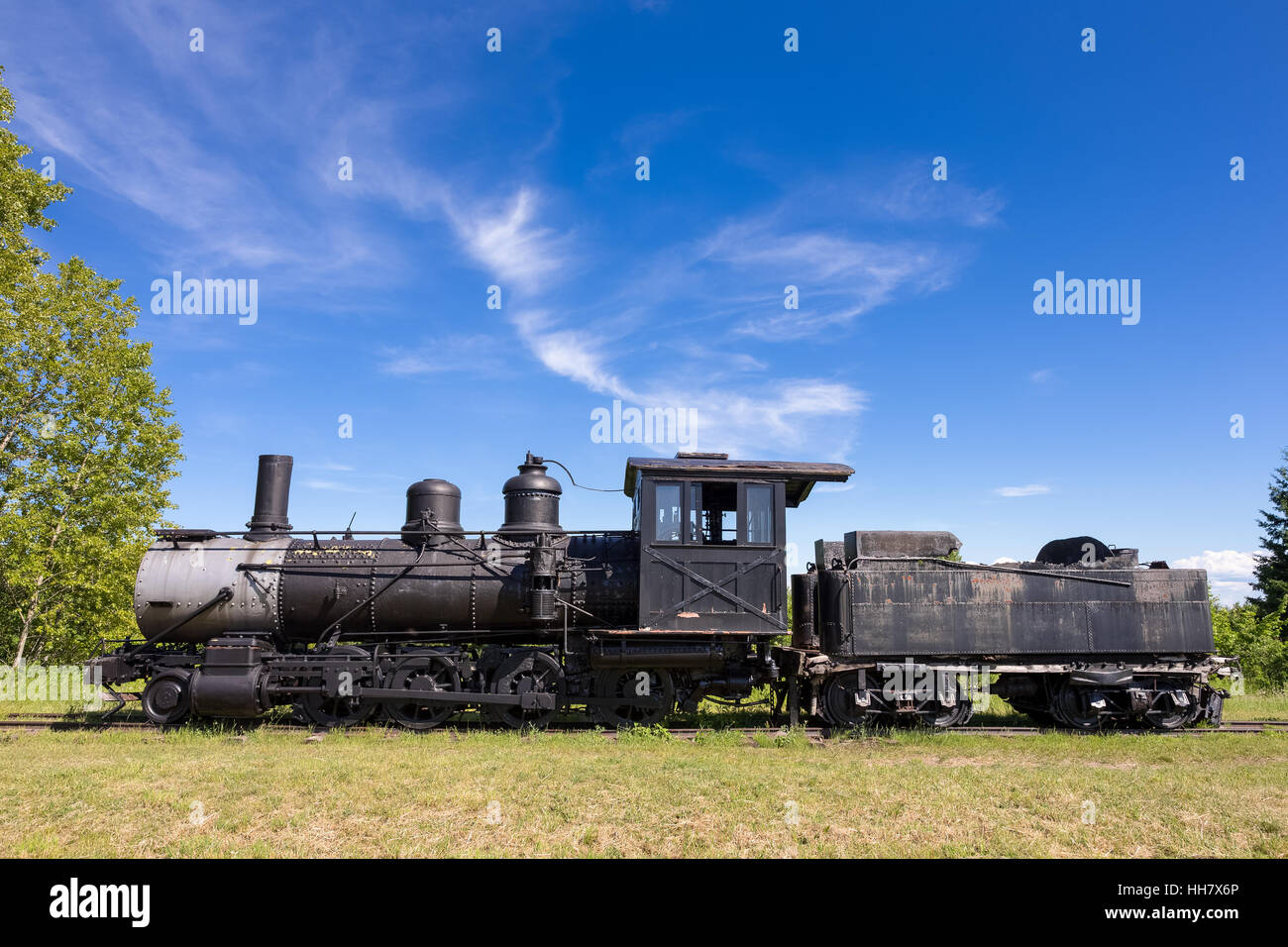 Dramatic View Of An Old Steam Train Engine. Abandoned