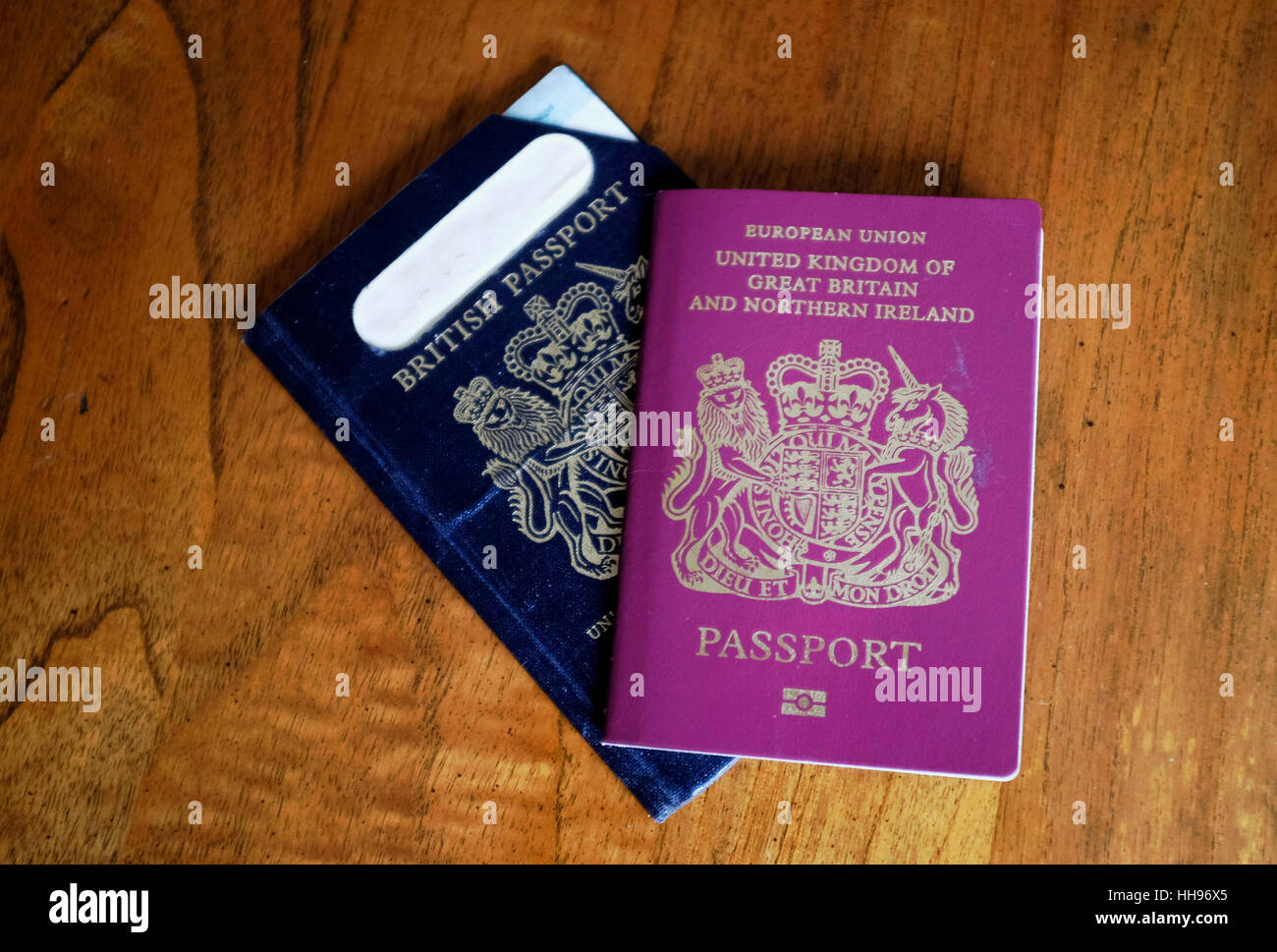 Old Style British Passport With A European Union Passport Stock Image