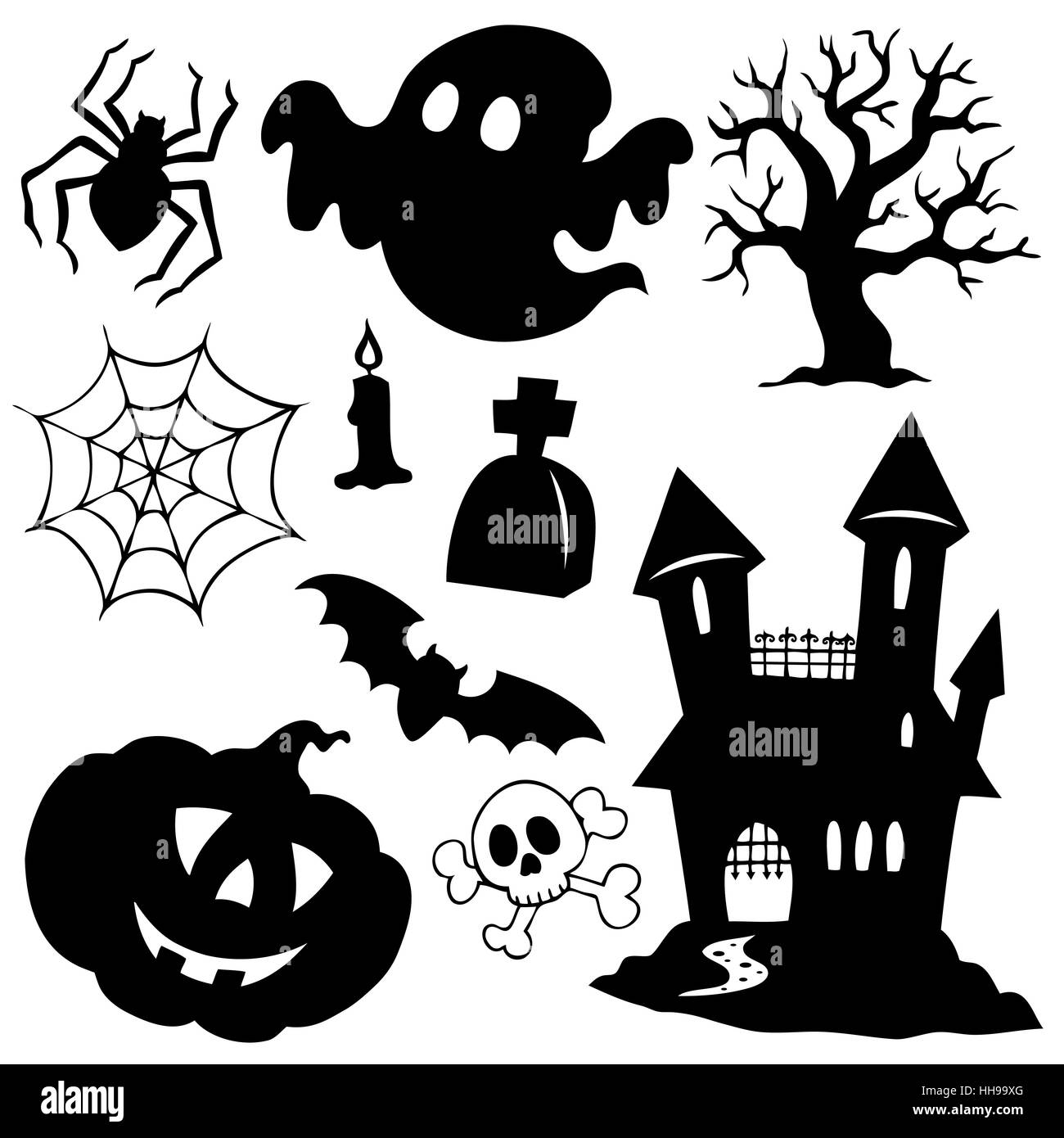 Halloween silhouettes collection 1 - picture illustration Stock ...