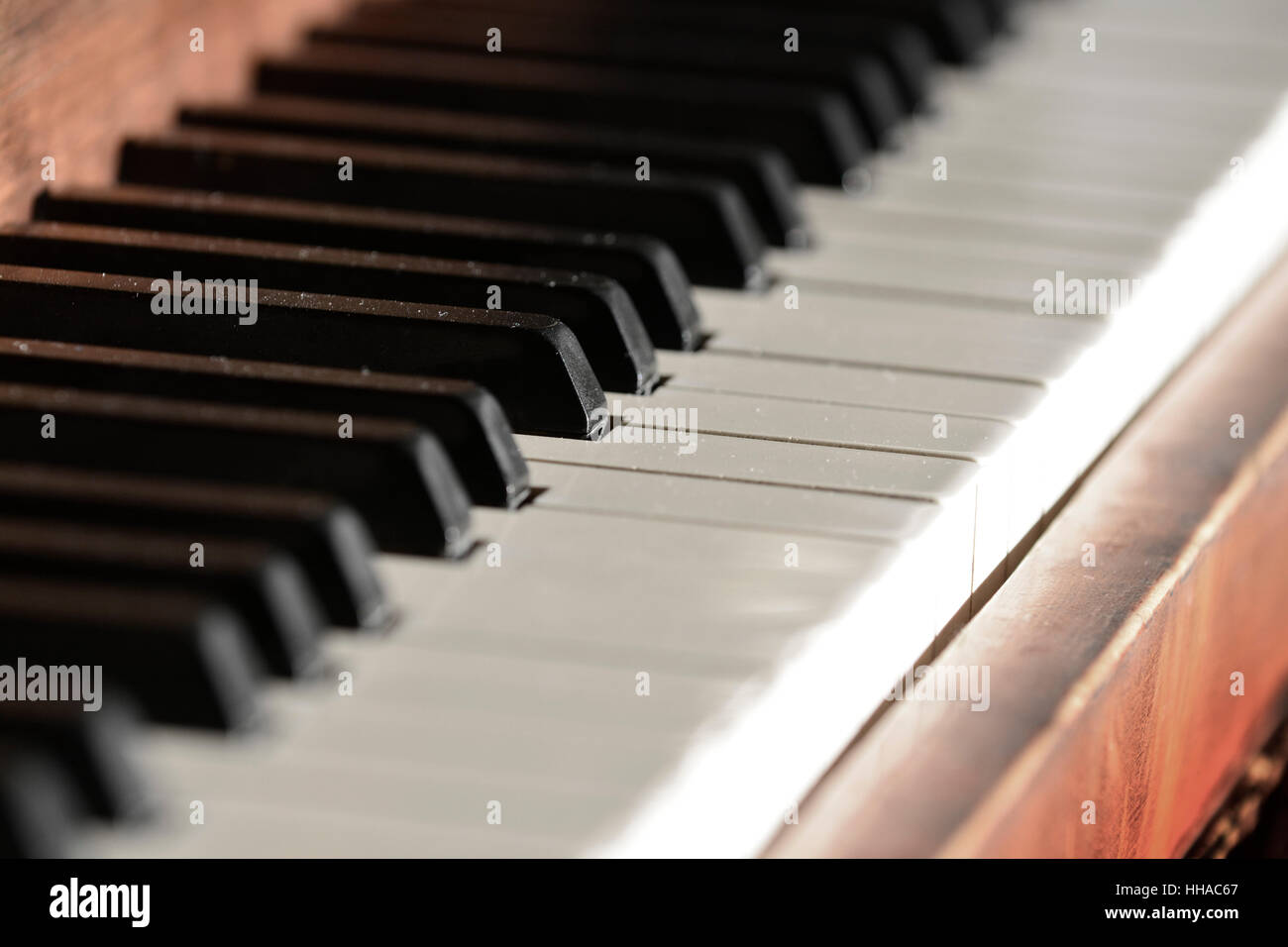 vintage old piano with keys for music ebony and ivory stock photo