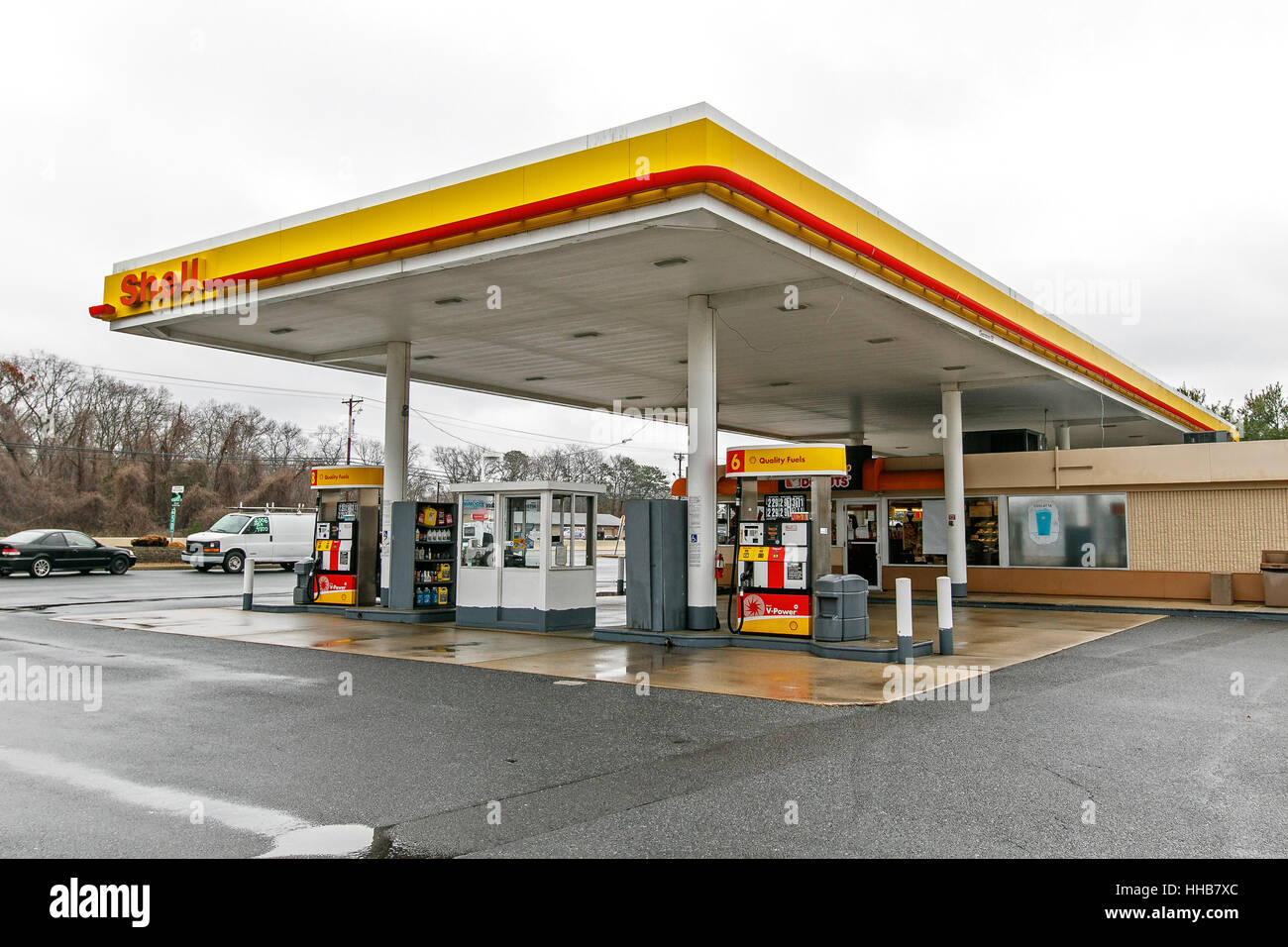 Shell gas station is seen on a cloudy day Stock Photo, Royalty ...