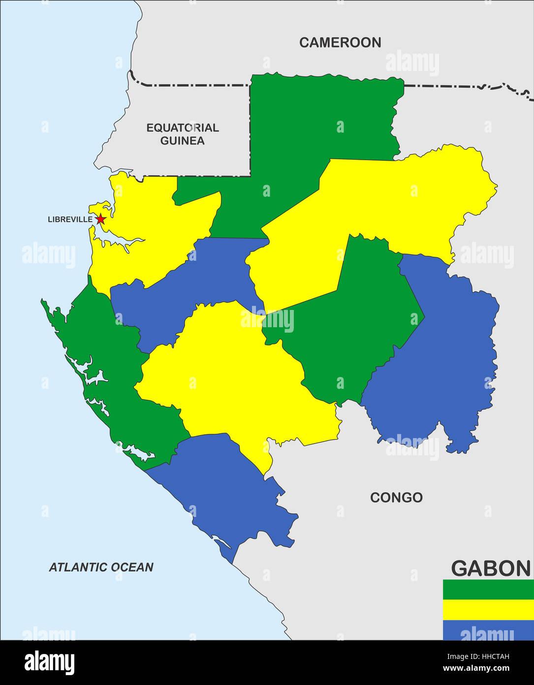 Very Big Size Gabon Country Political Map Stock Photo Royalty - Gabon map
