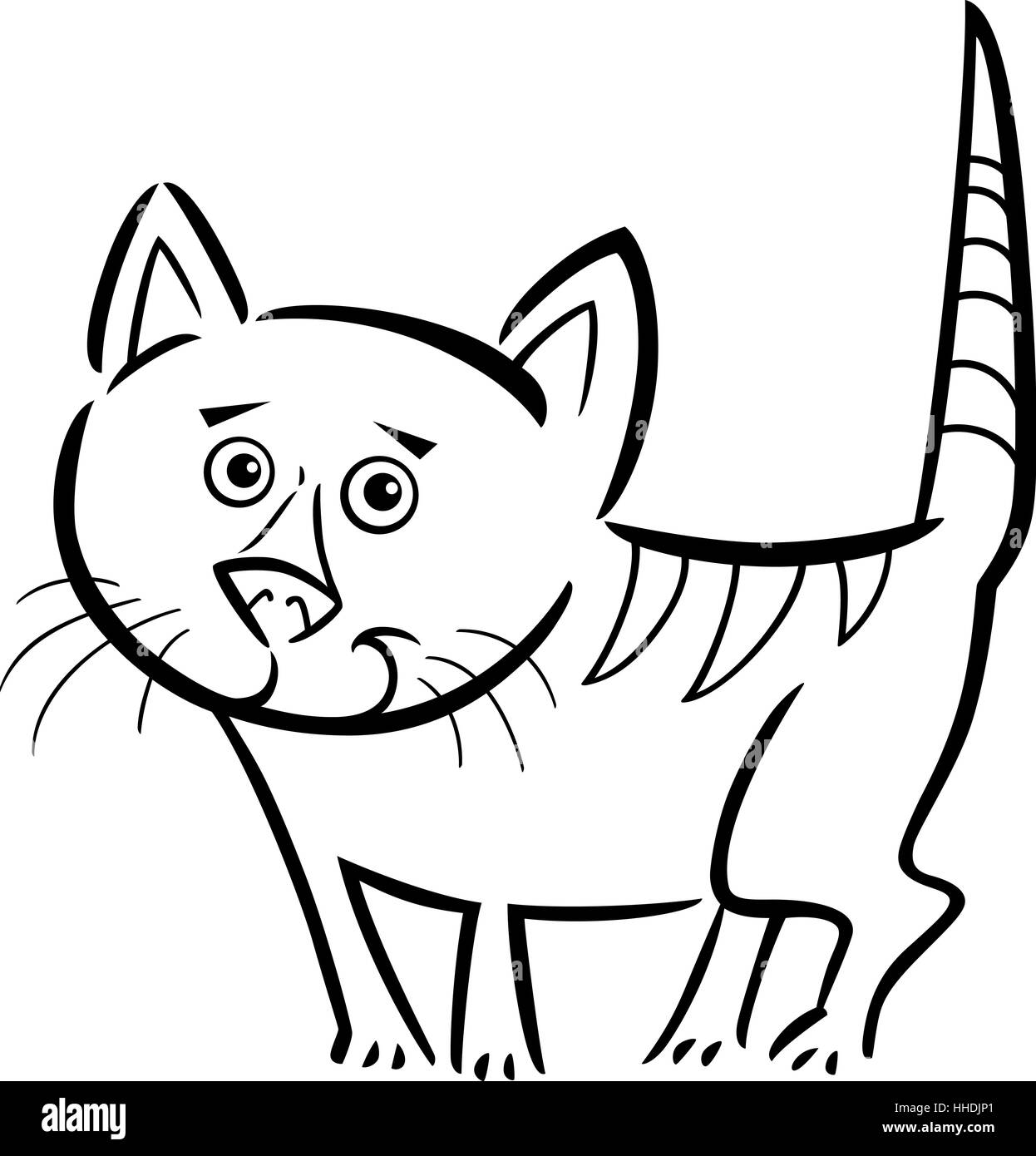 Cartoon Illustration of Cute Tabby Cat or Kitten for Coloring Book ...