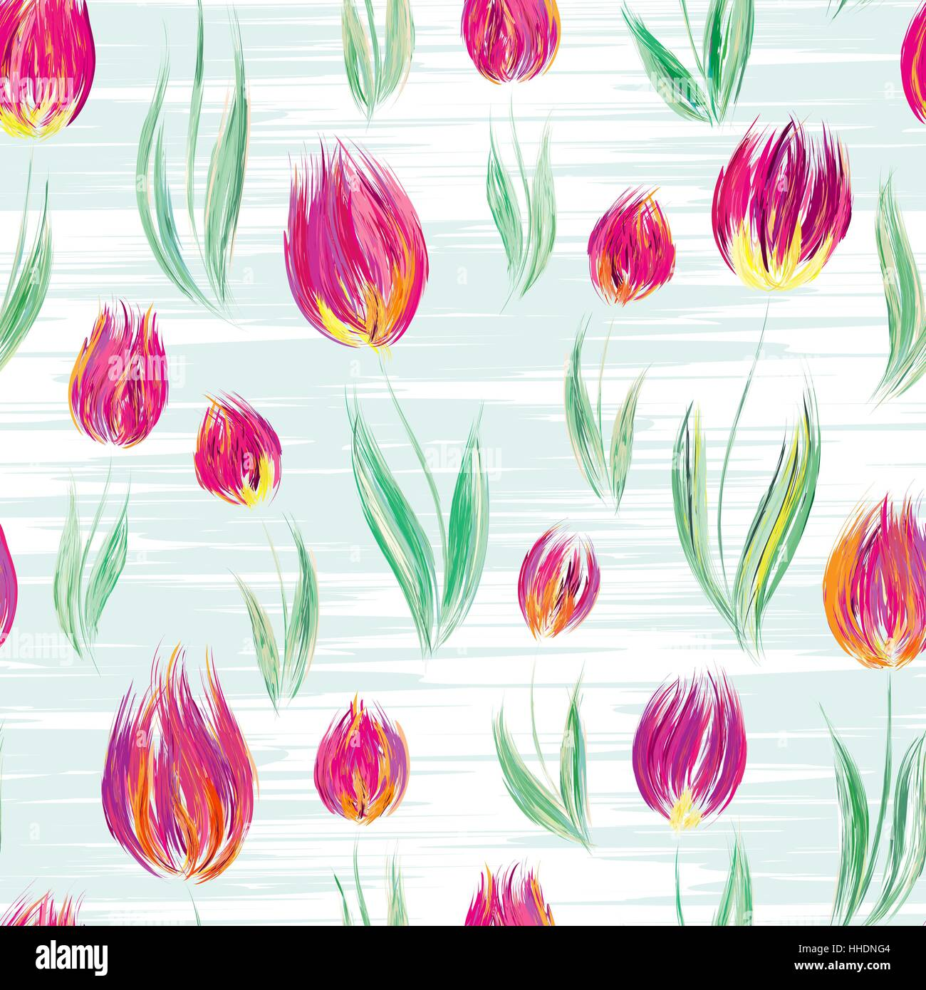 Bright seamless pattern with oil painted rose tulip flowers ...