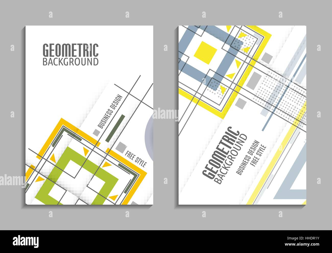 Set of business card. Abstract geometric design, brochure title ...