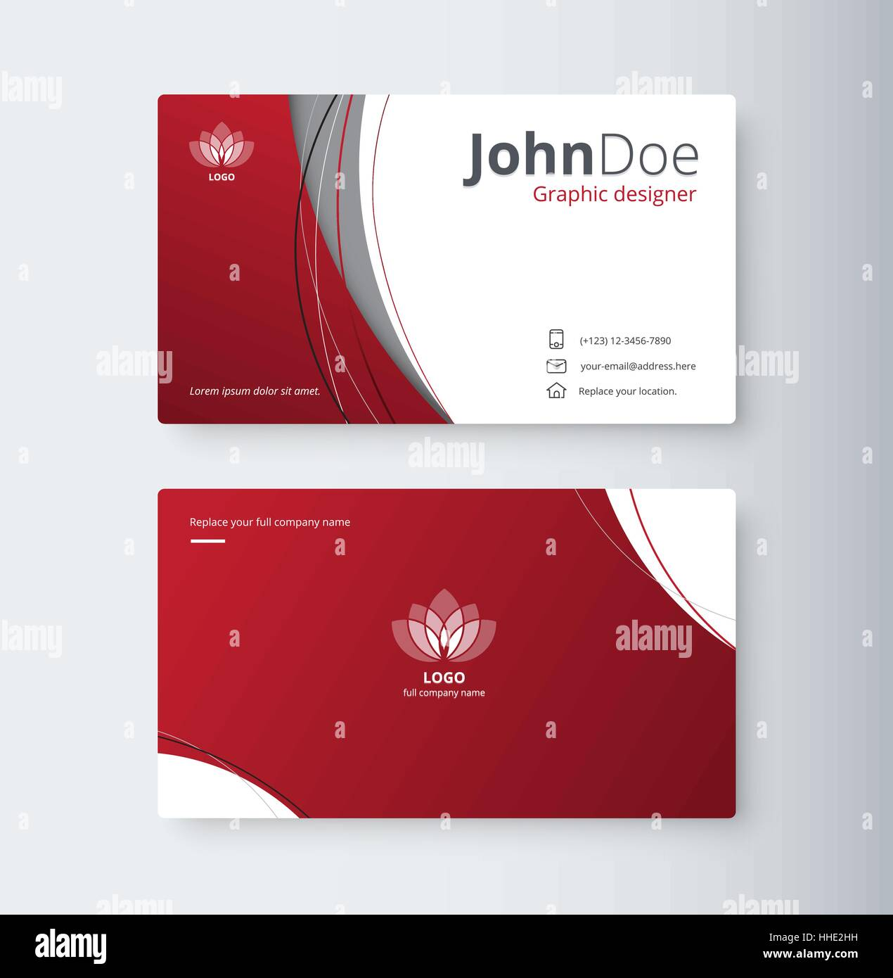 Curve Abstract Business Card Background Name Card Template - Email business card templates