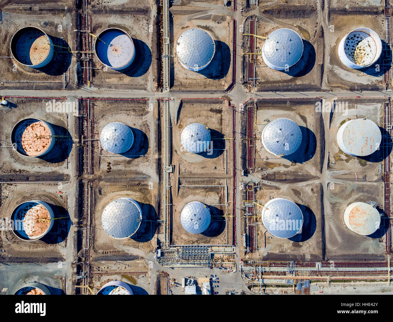Aerial View Of Oil Storage Tanks In A Grid Pattern At Torrance. Round  Containers,