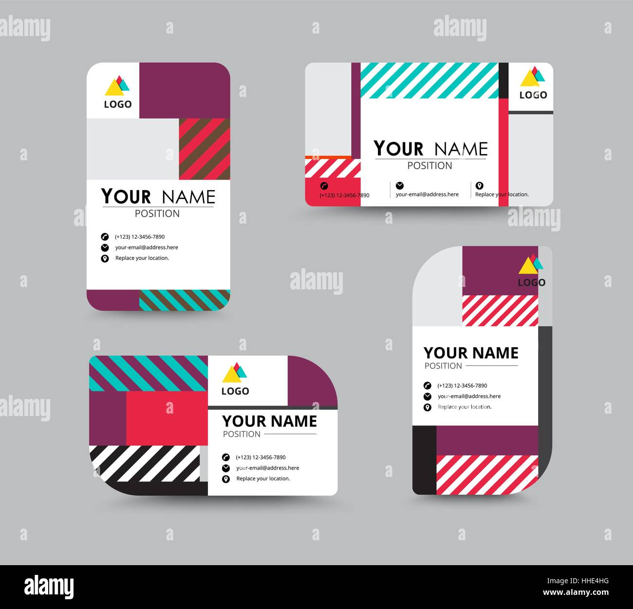 Modern business card and name card design contempolary design with modern business card and name card design contempolary design with sample content vector illustration reheart Gallery