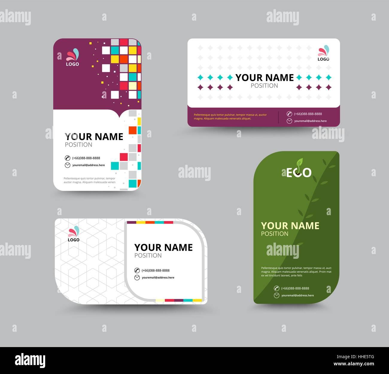 Contact card template. Business name card design set. vector Stock ...