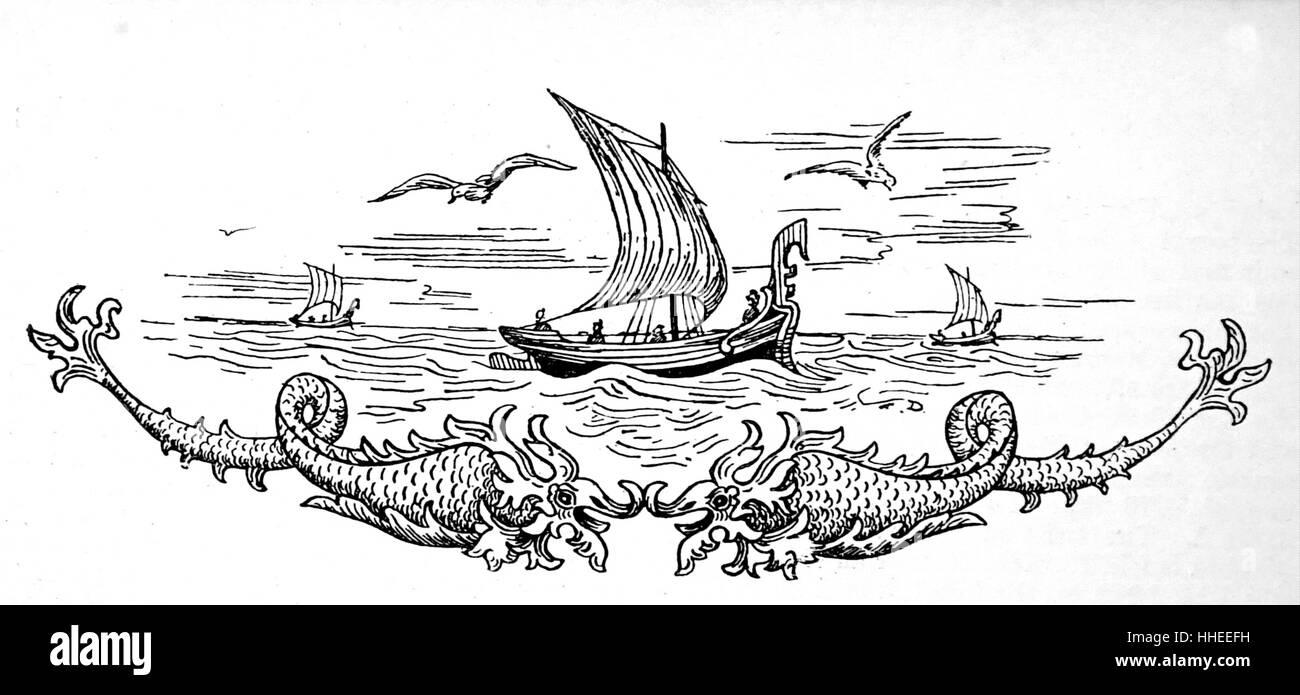woodcut of a viking ship marine vessels of unique design built