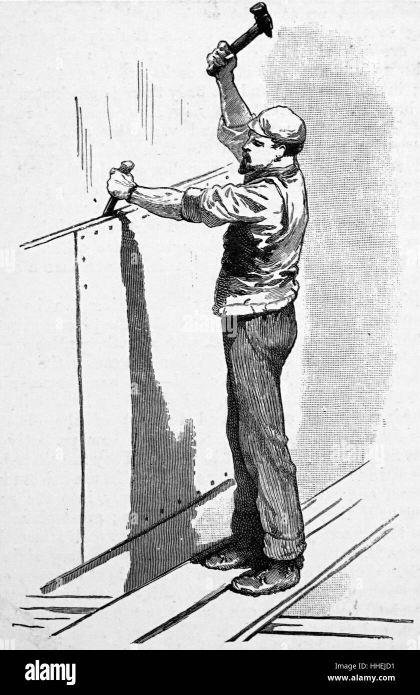 Whalers in action wood engraving published in 1855 stock illustration - Illustration Depicting The Caulking Of A Ship By Turning In The Edges Of The Riveted Plates