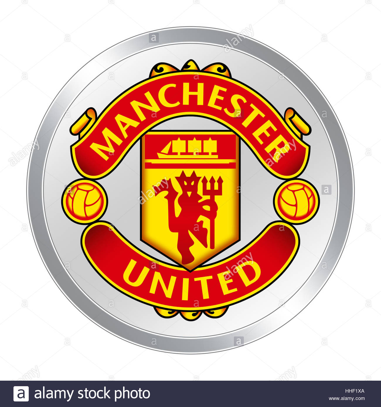 Manchester United logo icon button Stock Photo, Royalty
