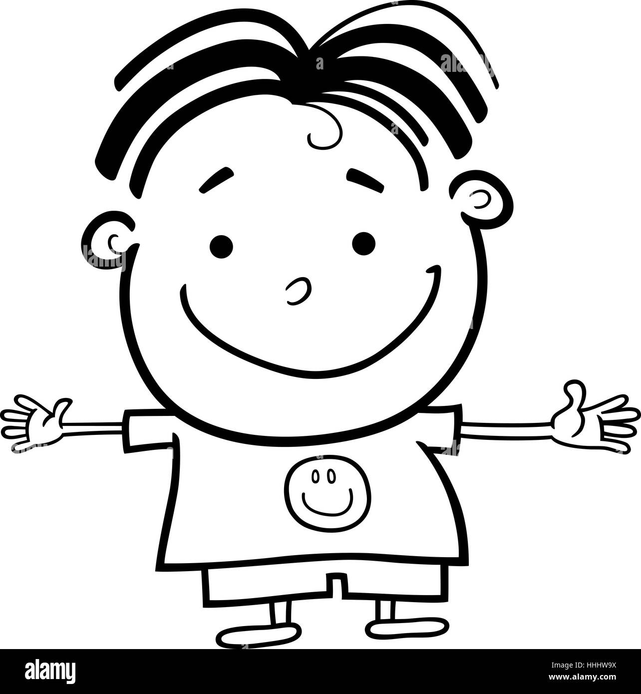 Cartoon Illustration Of Cute Little Happy Boy For Coloring