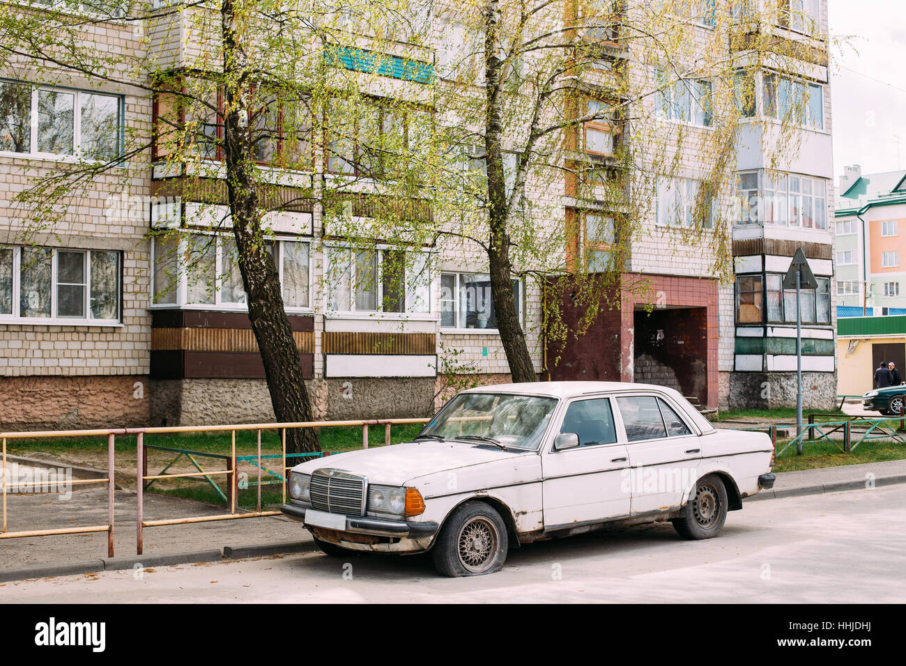 Old rusty car 1980 Mercedes-Benz 300 D (W123) sedan parking on ...